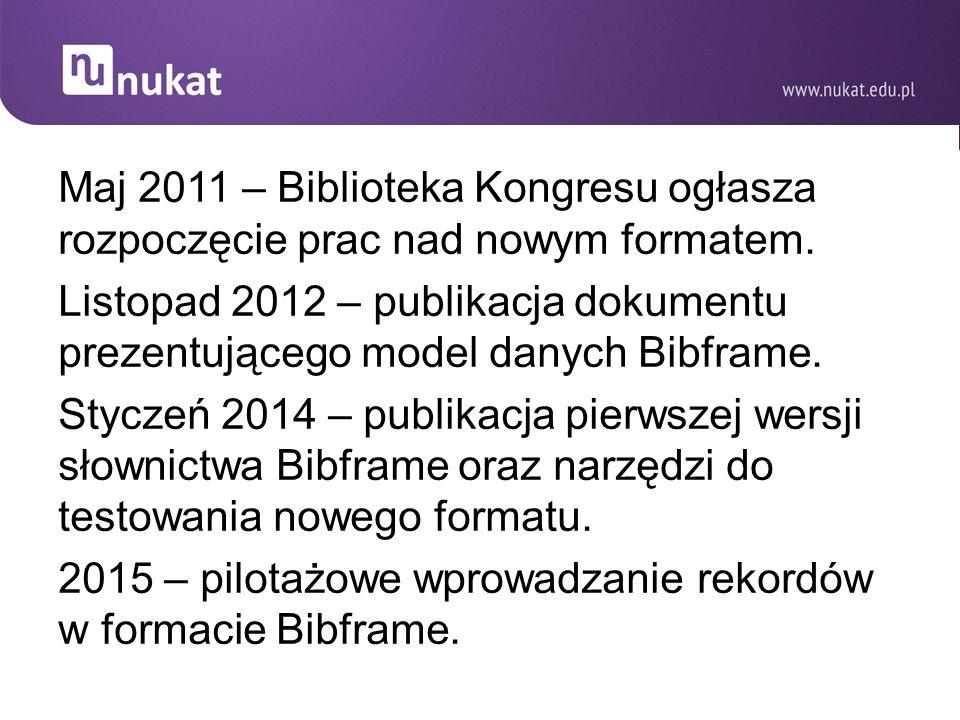 2015 – pilotażowe wprowadzanie rekordów w formacie Bibframe.