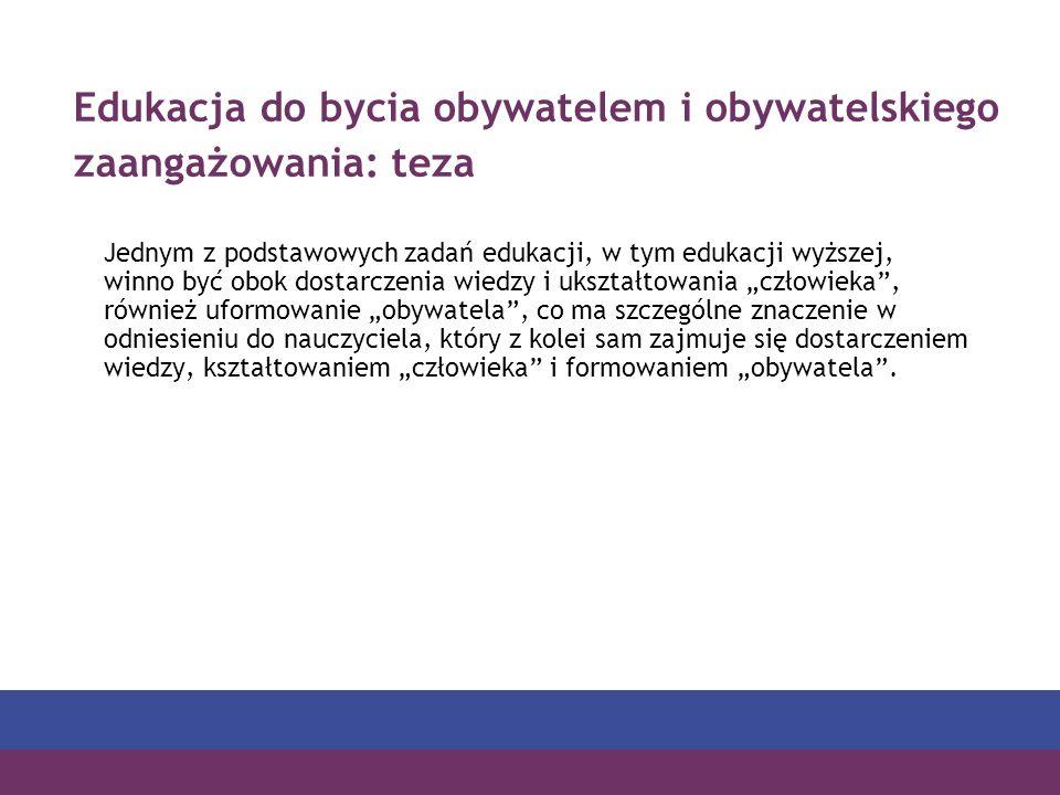 Edukacja do bycia obywatelem i obywatelskiego zaangażowania: teza