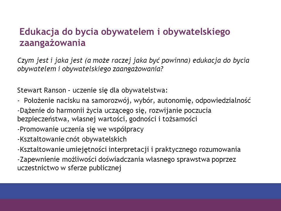Edukacja do bycia obywatelem i obywatelskiego zaangażowania