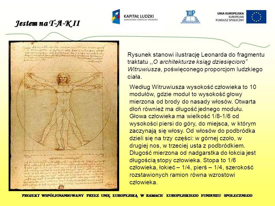 Rysunek stanowi ilustrację Leonarda do fragmentu traktatu ,,O architekturze ksiąg dziesięcioro Witruwiusza, poświęconego proporcjom ludzkiego ciała.