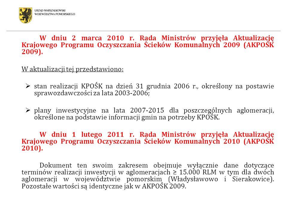 W dniu 2 marca 2010 r. Rada Ministrów przyjęła Aktualizację Krajowego Programu Oczyszczania Ścieków Komunalnych 2009 (AKPOŚK 2009).