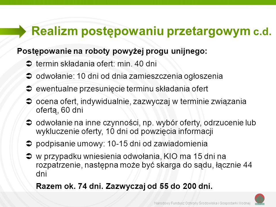 Realizm postępowaniu przetargowym c.d.