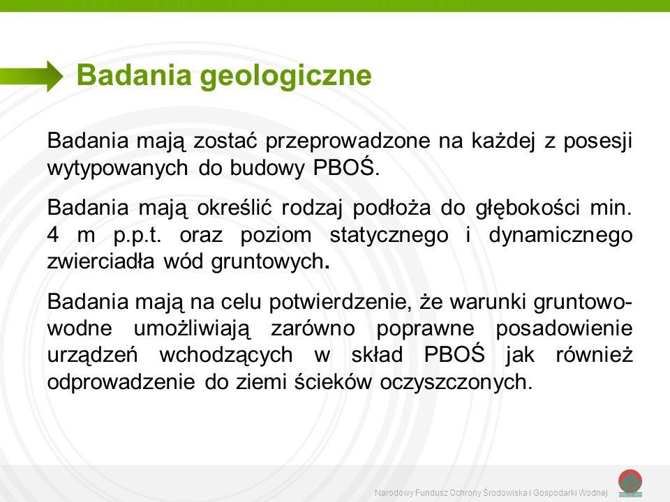 Badania geologiczneBadania mają zostać przeprowadzone na każdej z posesji wytypowanych do budowy PBOŚ.