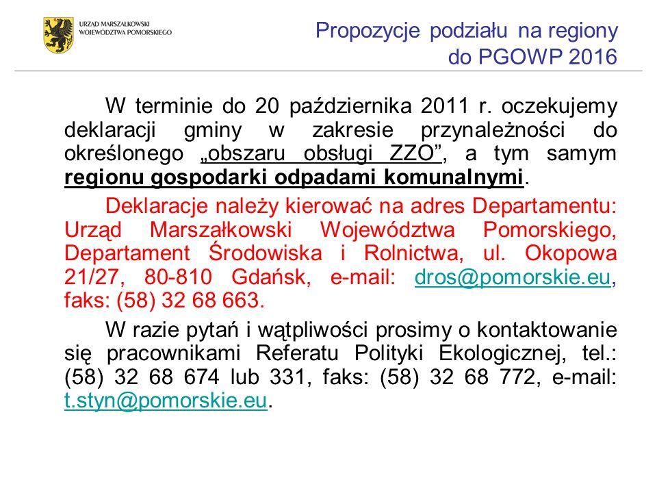 Propozycje podziału na regiony do PGOWP 2016