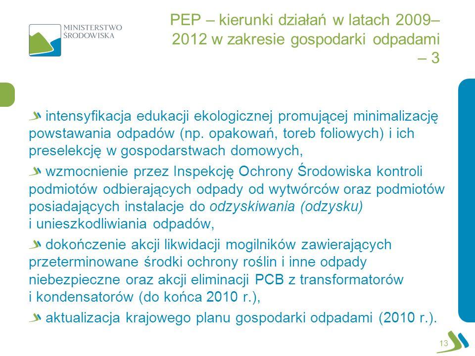 PEP – kierunki działań w latach 2009–2012 w zakresie gospodarki odpadami – 3