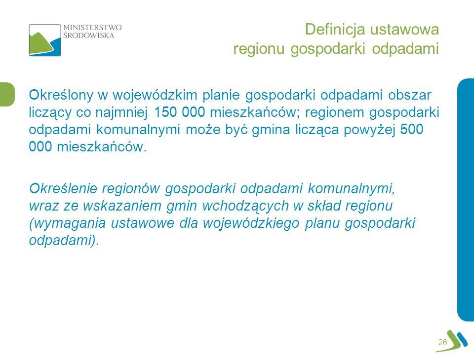 Definicja ustawowa regionu gospodarki odpadami