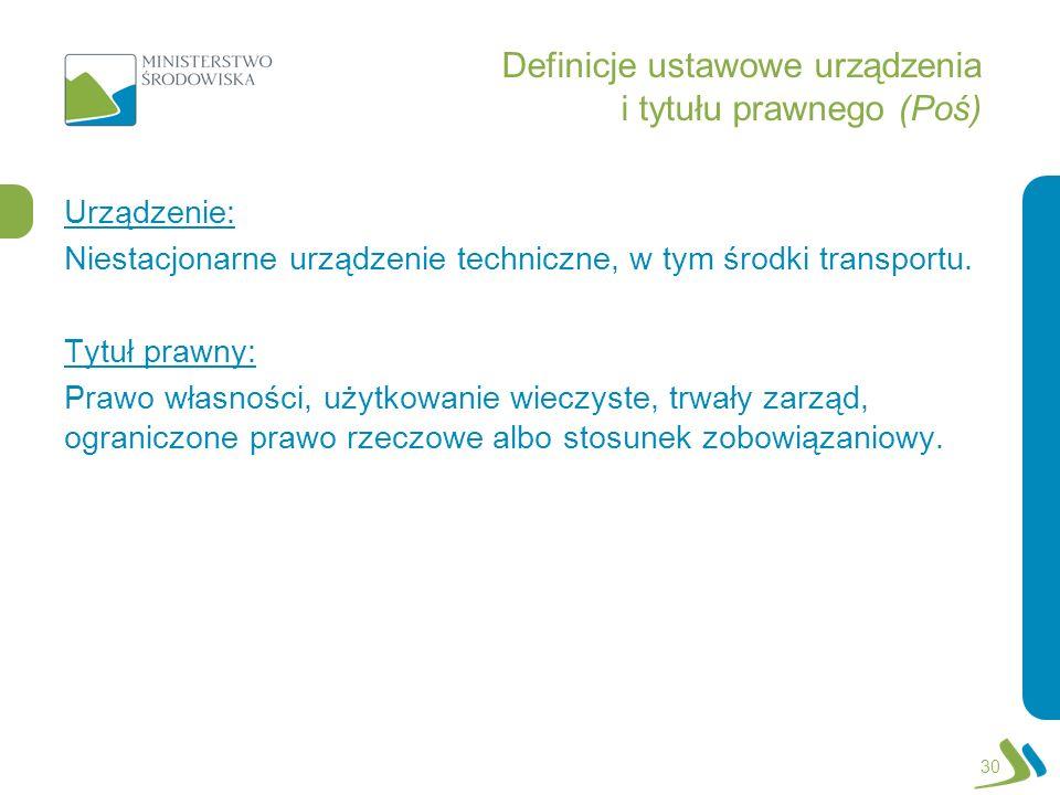 Definicje ustawowe urządzenia i tytułu prawnego (Poś)