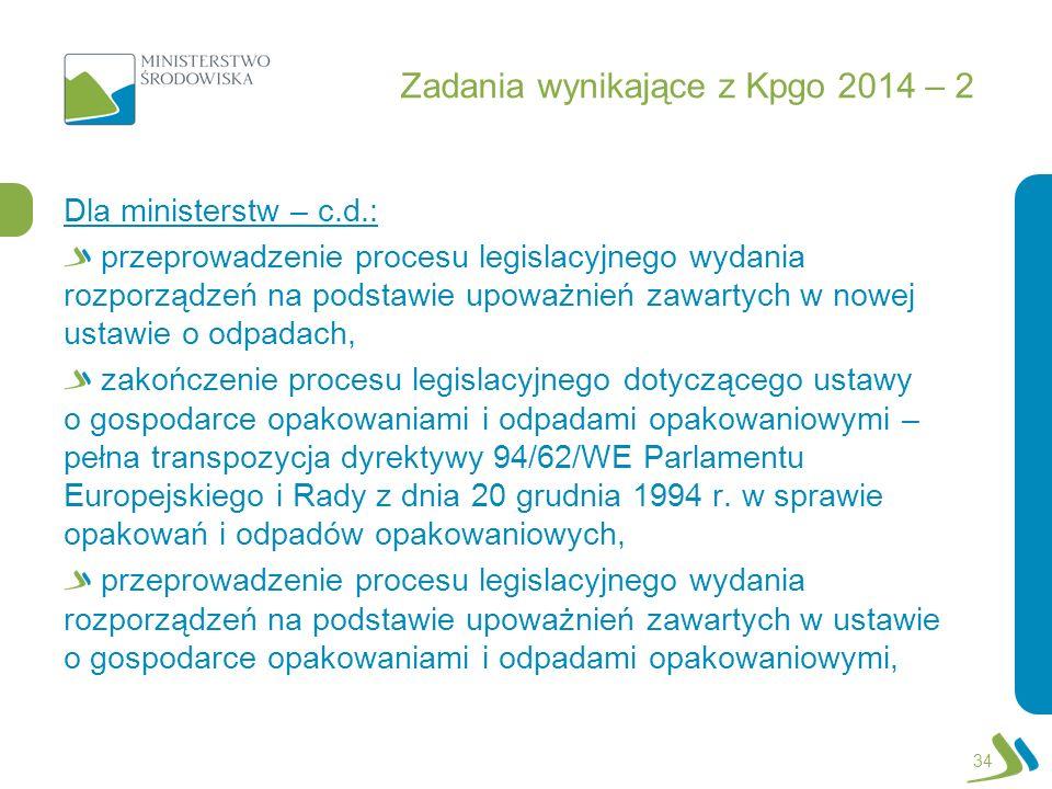 Zadania wynikające z Kpgo 2014 – 2