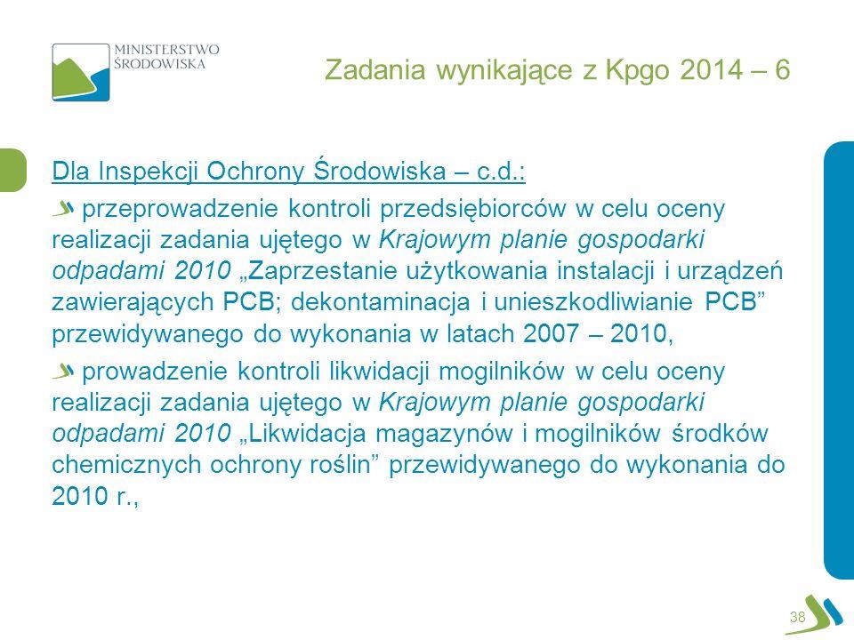 Zadania wynikające z Kpgo 2014 – 6