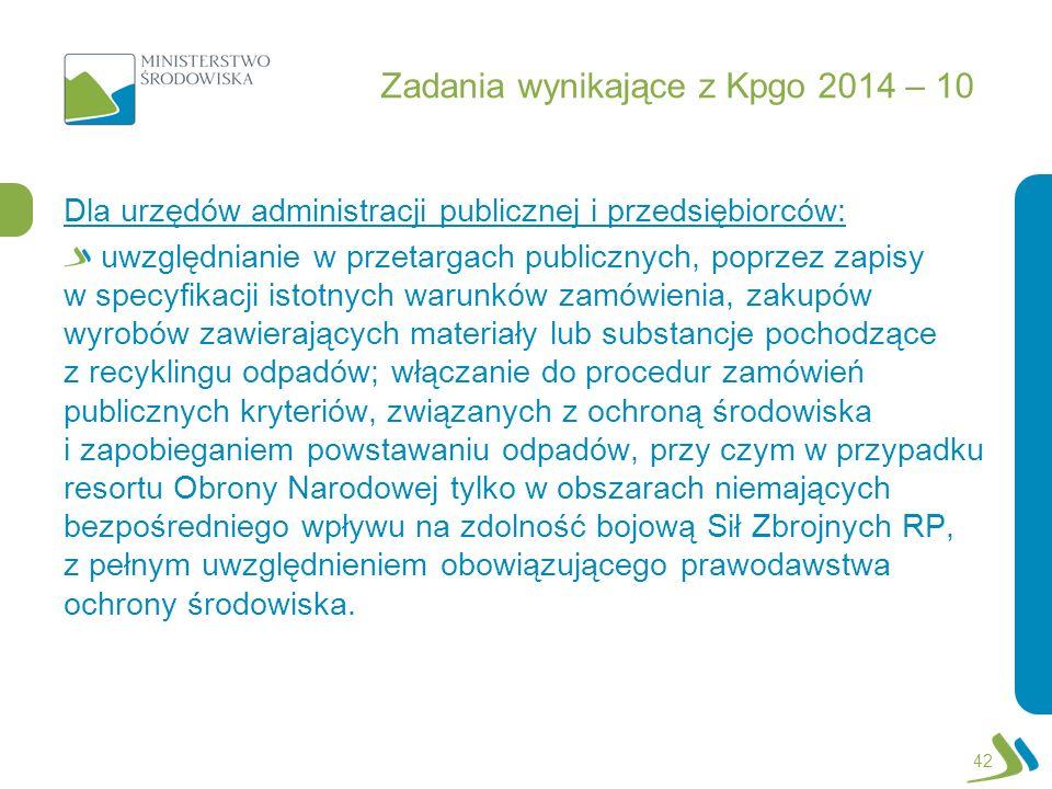 Zadania wynikające z Kpgo 2014 – 10