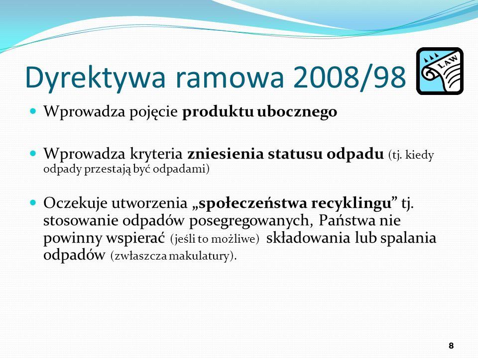Dyrektywa ramowa 2008/98 Wprowadza pojęcie produktu ubocznego