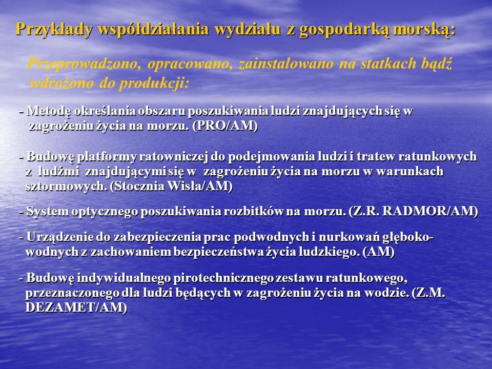 Przykłady współdziałania wydziału z gospodarką morską: