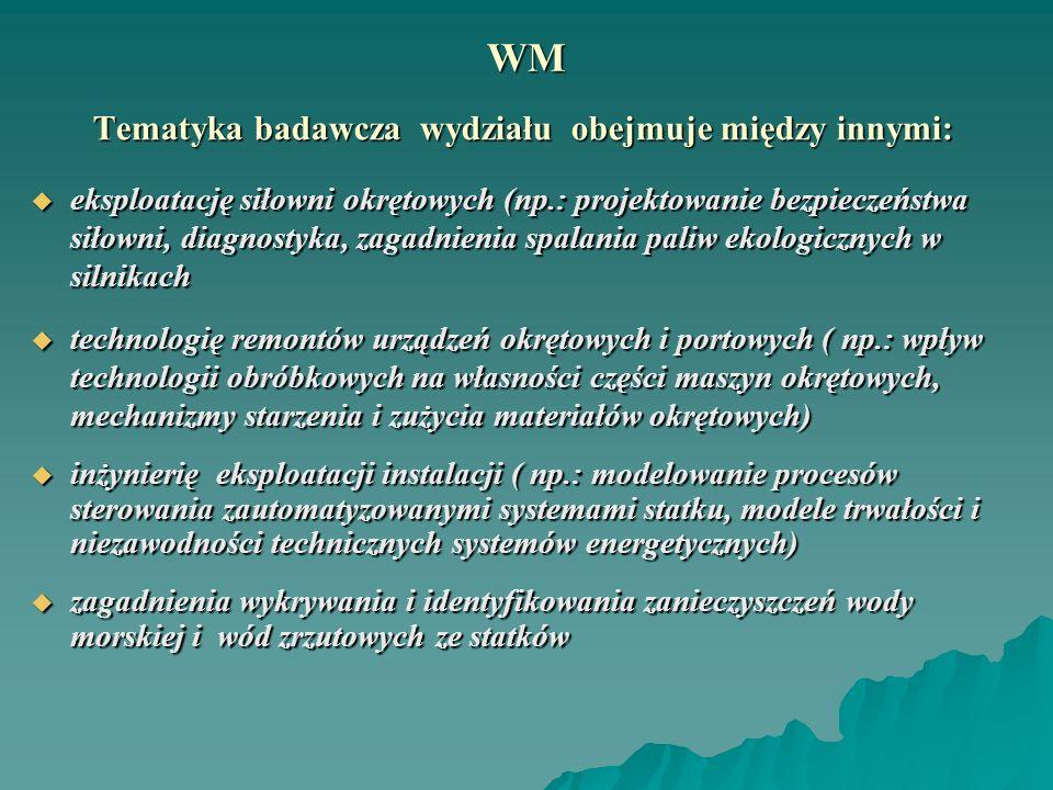 WM Tematyka badawcza wydziału obejmuje między innymi: