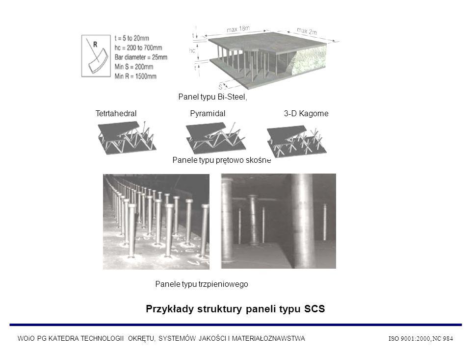 Przykłady struktury paneli typu SCS