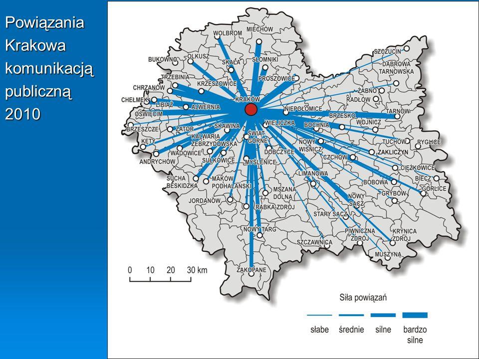 Powiązania Krakowa komunikacją publiczną 2010