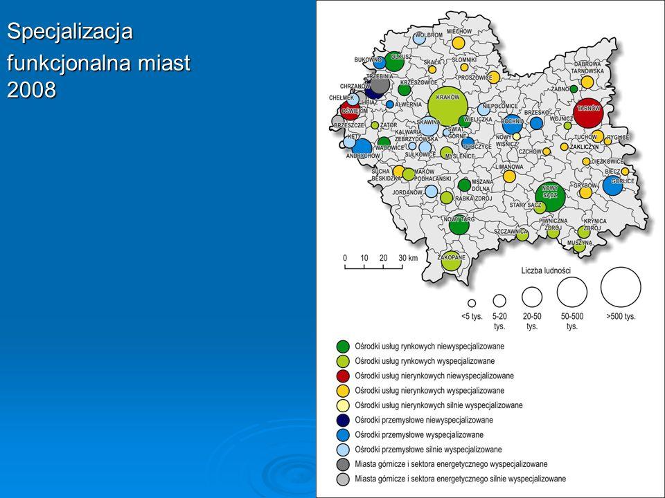 Specjalizacja funkcjonalna miast 2008
