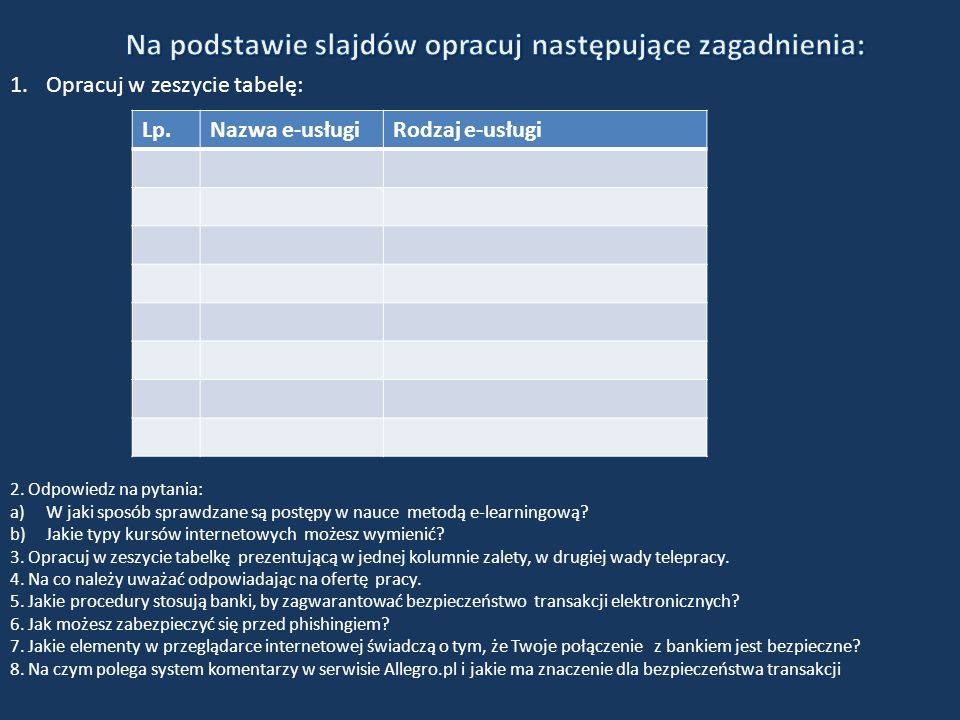 Na podstawie slajdów opracuj następujące zagadnienia: