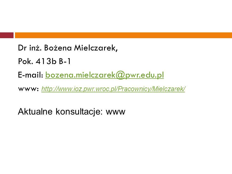 Dr inż. Bożena Mielczarek, Pok. 413b B-1