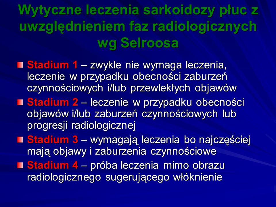 Wytyczne leczenia sarkoidozy płuc z uwzględnieniem faz radiologicznych wg Selroosa