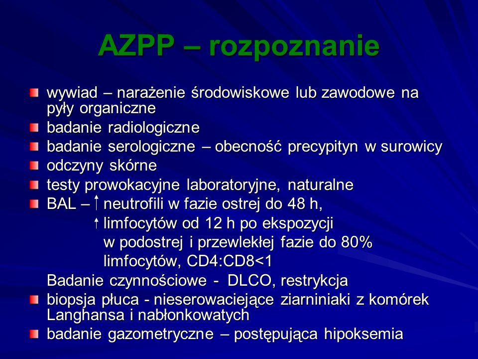 AZPP – rozpoznanie wywiad – narażenie środowiskowe lub zawodowe na pyły organiczne. badanie radiologiczne.