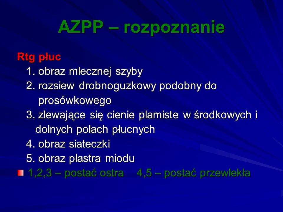 AZPP – rozpoznanie Rtg płuc 1. obraz mlecznej szyby