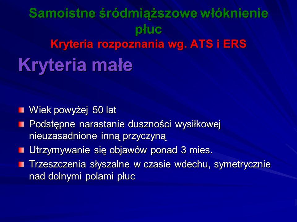 Samoistne śródmiąższowe włóknienie płuc Kryteria rozpoznania wg