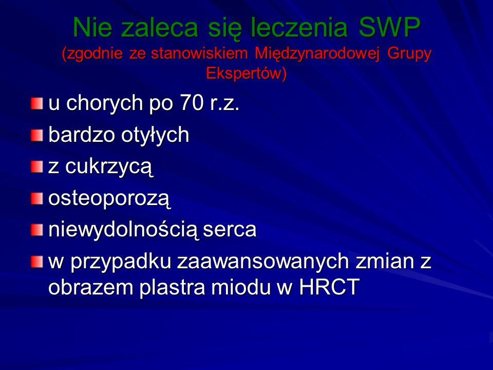 Nie zaleca się leczenia SWP (zgodnie ze stanowiskiem Międzynarodowej Grupy Ekspertów)