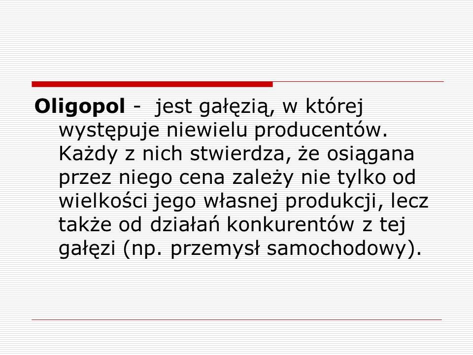 Oligopol - jest gałęzią, w której występuje niewielu producentów