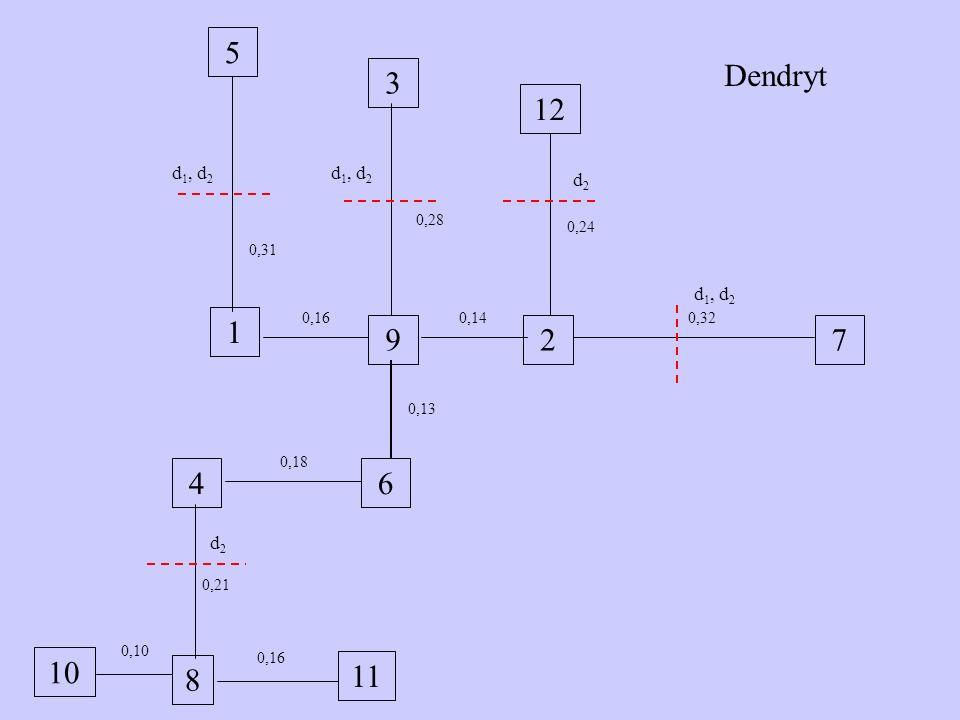 10 5 3 1 7 2 9 4 6 12 11 8 0,21 0,10 0,16 0,28 0,31 0,18 0,13 0,14 0,24 0,32 Dendryt d1, d2 d2