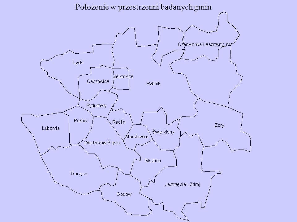 Położenie w przestrzenni badanych gmin
