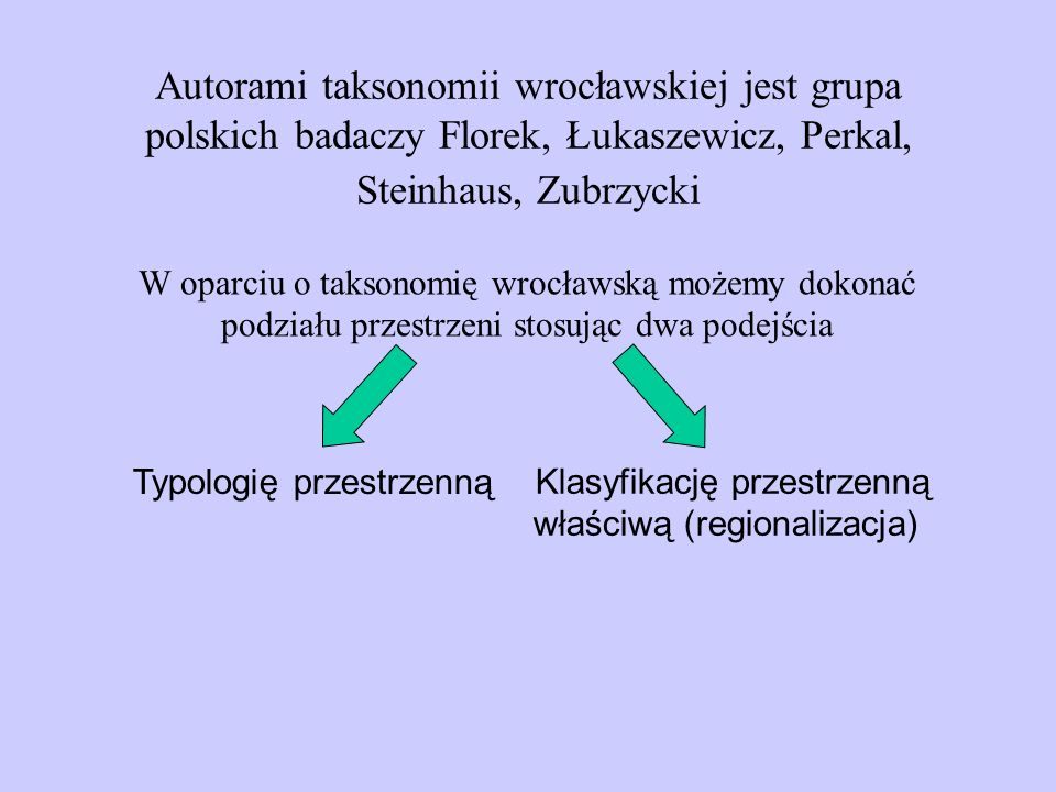 Autorami taksonomii wrocławskiej jest grupa polskich badaczy Florek, Łukaszewicz, Perkal, Steinhaus, Zubrzycki