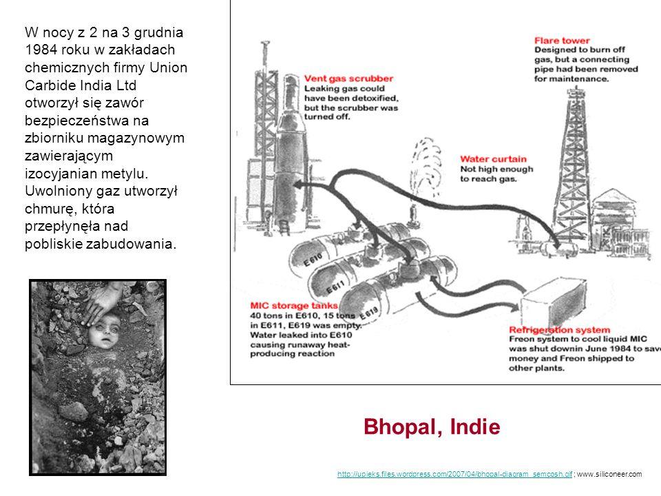 W nocy z 2 na 3 grudnia 1984 roku w zakładach chemicznych firmy Union Carbide India Ltd otworzył się zawór bezpieczeństwa na zbiorniku magazynowym zawierającym izocyjanian metylu. Uwolniony gaz utworzył chmurę, która przepłynęła nad pobliskie zabudowania.