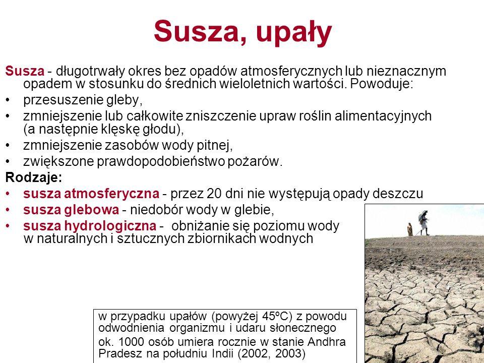 Susza, upały Susza - długotrwały okres bez opadów atmosferycznych lub nieznacznym opadem w stosunku do średnich wieloletnich wartości. Powoduje: