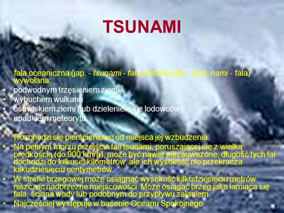 TSUNAMI fala oceaniczna (jap. - tsunami - fala portowa (tsu - port, nami - fala) wywołana: podwodnym trzęsieniem ziemi,