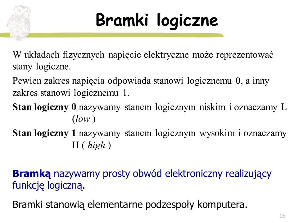 Bramki logiczne W układach fizycznych napięcie elektryczne może reprezentować stany logiczne.