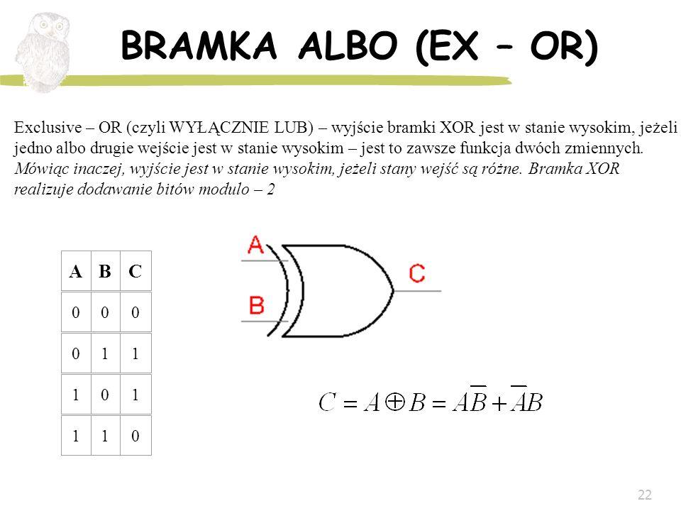 BRAMKA ALBO (EX – OR) A B C