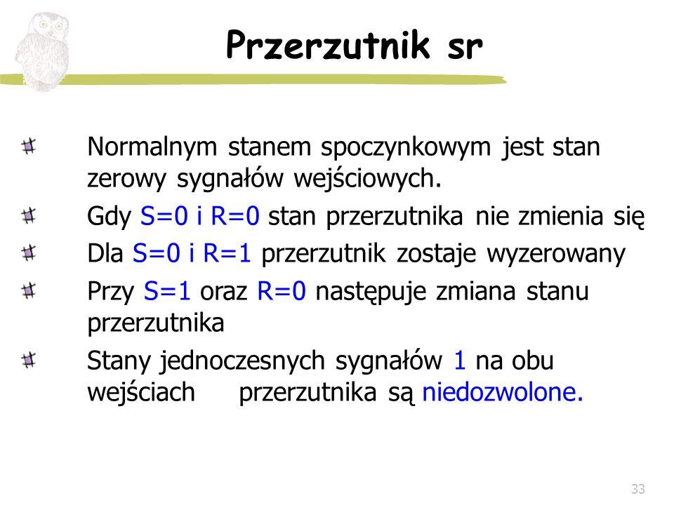 Przerzutnik sr Normalnym stanem spoczynkowym jest stan zerowy sygnałów wejściowych. Gdy S=0 i R=0 stan przerzutnika nie zmienia się.