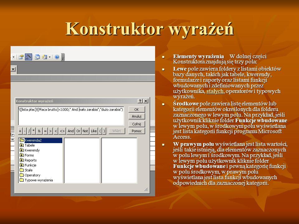 Konstruktor wyrażeń Elementy wyrażenia W dolnej części Konstruktora znajdują się trzy pola:
