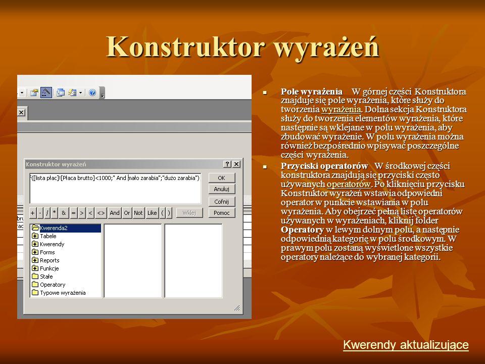 Konstruktor wyrażeń Kwerendy aktualizujące
