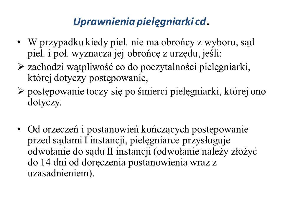 Uprawnienia pielęgniarki cd.