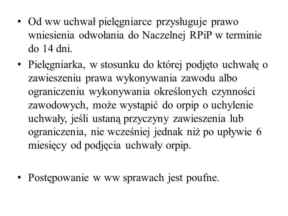 Od ww uchwał pielęgniarce przysługuje prawo wniesienia odwołania do Naczelnej RPiP w terminie do 14 dni.