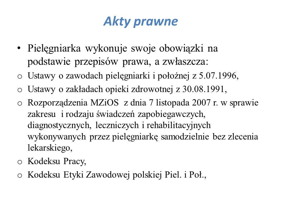 Akty prawne Pielęgniarka wykonuje swoje obowiązki na podstawie przepisów prawa, a zwłaszcza: Ustawy o zawodach pielęgniarki i położnej z 5.07.1996,