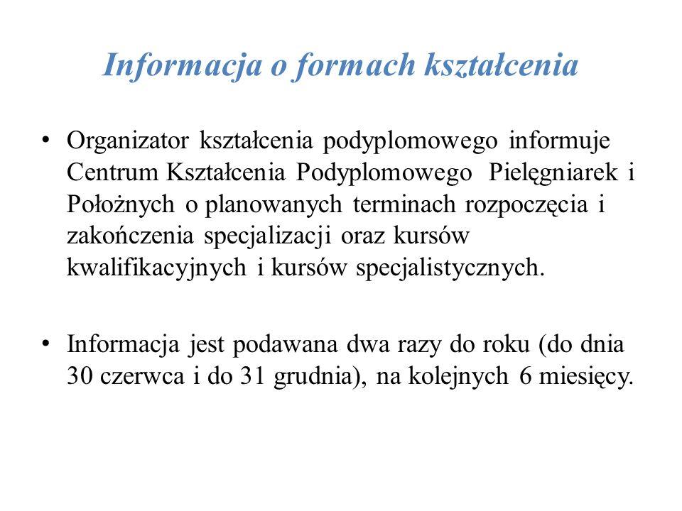 Informacja o formach kształcenia