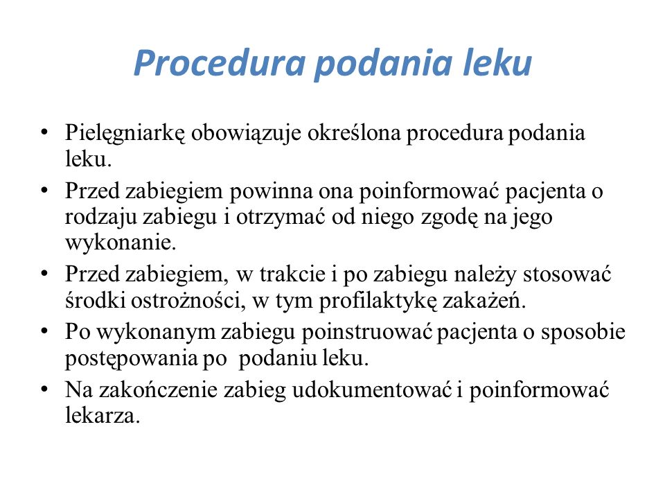 Procedura podania leku