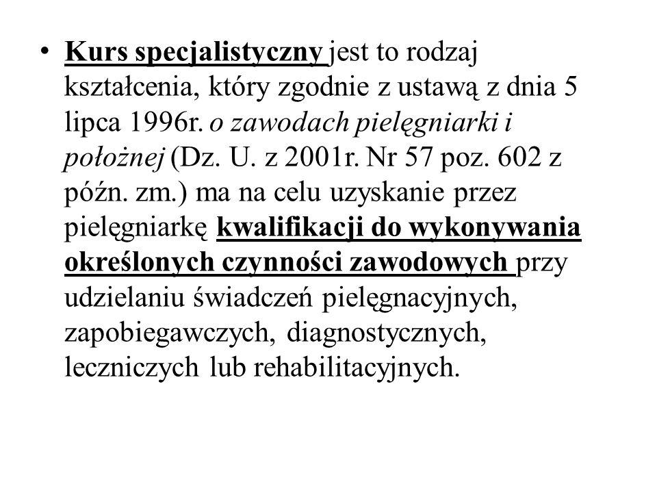 Kurs specjalistyczny jest to rodzaj kształcenia, który zgodnie z ustawą z dnia 5 lipca 1996r.