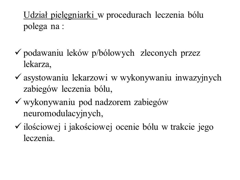 Udział pielęgniarki w procedurach leczenia bólu polega na :