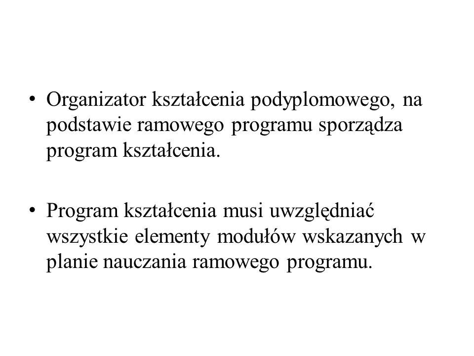 Organizator kształcenia podyplomowego, na podstawie ramowego programu sporządza program kształcenia.