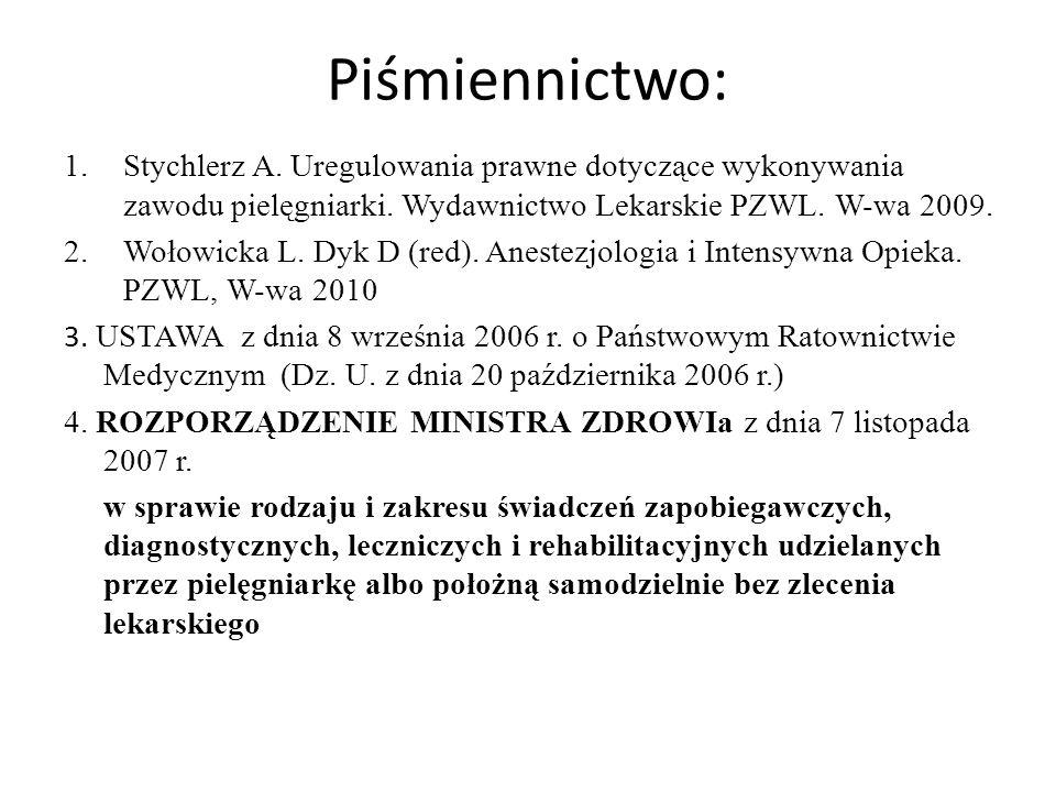 Piśmiennictwo: Stychlerz A. Uregulowania prawne dotyczące wykonywania zawodu pielęgniarki. Wydawnictwo Lekarskie PZWL. W-wa 2009.