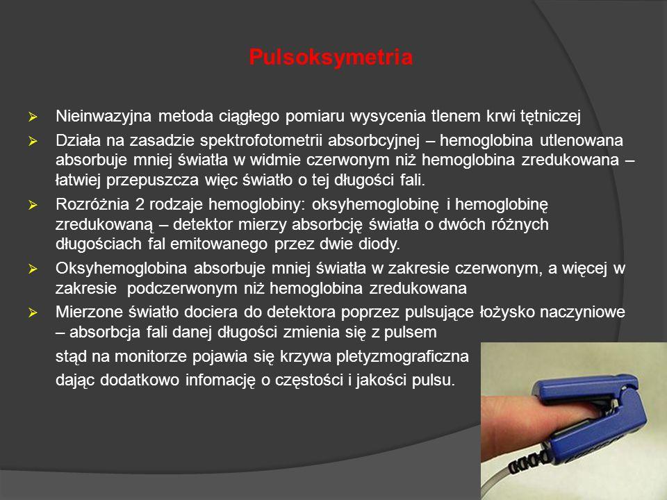 Pulsoksymetria Nieinwazyjna metoda ciągłego pomiaru wysycenia tlenem krwi tętniczej.