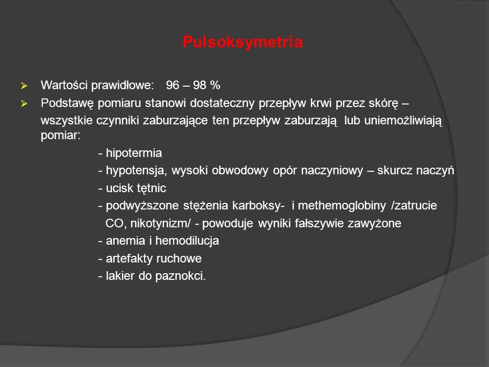 Pulsoksymetria Wartości prawidłowe: 96 – 98 %